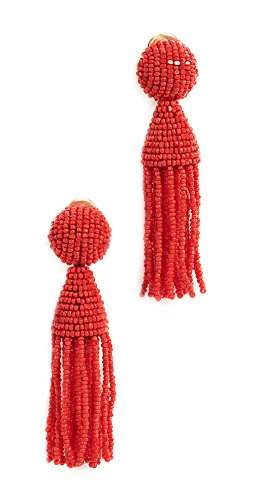 Oscar de la Renta Short Beaded Tassel Clip On Earrings by OSCAR DE LA RENTA