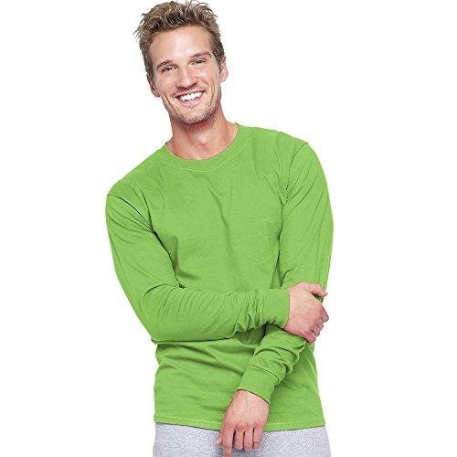 Hanes 5186 Adult Beefy T Long Sleeve T-Shirt Size Medium, Lime -