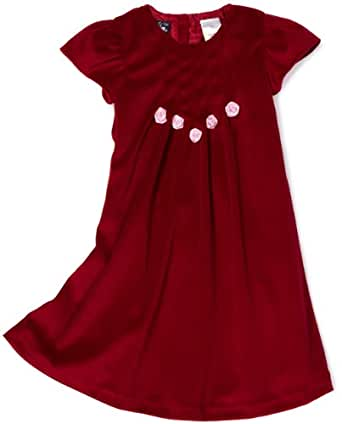 So La Vita Little Girls' Toddler Velvet Dress with Flower, Red, 3T