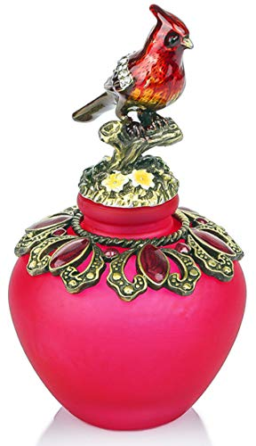 YUFENG Vintage Empty Refillable Perfume Bottles Realistic Jewelled Bird Stopper Red Glass Ornament