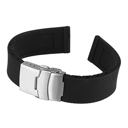 Beauty7 Black 22mm Soft Textured Rubber Strap Watch Band Replacement Stainless Steel Deployment Buckle