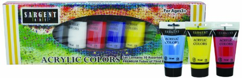 Sargent Art 23-0299 10 Count Acrylic Premium Tube, Assorted Colors Acrylic 75ml Primary