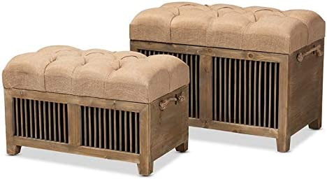 Baxton Studio Clement Beige Upholstered Oak 2-Piece Wood Storage Ottoman Set