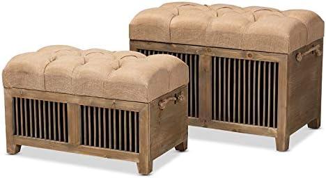 Baxton Studio Clement Beige Upholstered Oak 2-Piece Wood Storage Ottoman Set