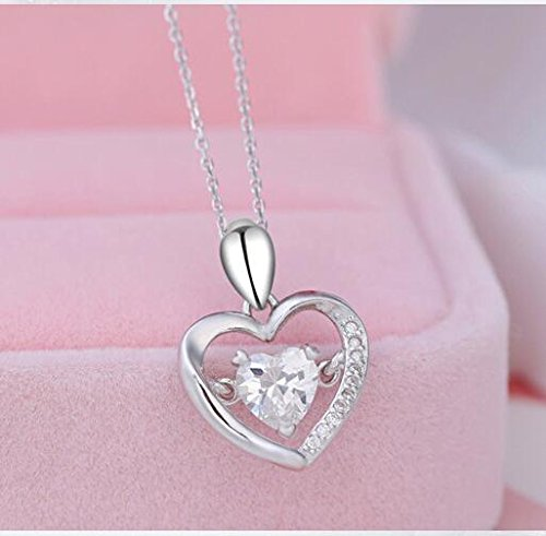 Sterling Silver Charm Shine Heart Pendant Necklaces White Gold Plated White Cubic Zirconia Women 18 inch