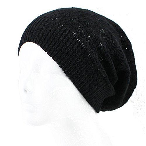 AN Fashion Lightweight Slouchy Beanie Knit Hat Eyelet Pattern (XSmall to Small, (Knit Skull Cap Pattern)