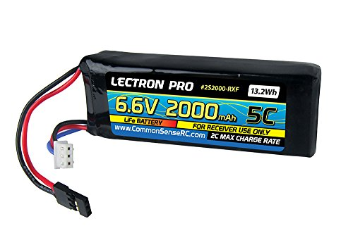 Common Sense RC Lectron Pro 6.6V 2000mAh 5C Life Receiver Flat Pack Battery with Servo Connector for Receivers and Servos
