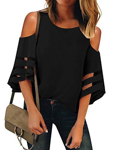 Vetinee Women's Black 3/4 Bell Sleeve Mesh Panel Blouse Crewneck Cold Shoulder Tops X-Large (US 16-18)