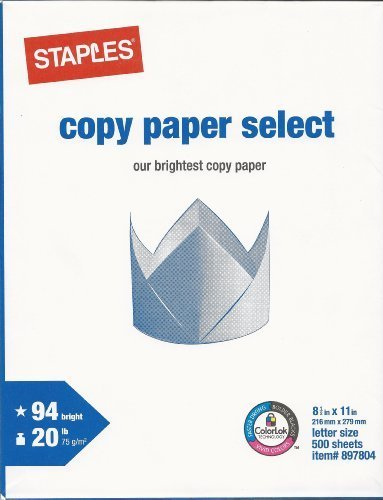 Staples Copy Paper Select Multipurpose/Fax/Laser/Inkjet Printer Paper, Letter Size (8.5 x 11), 94 Brightness, 20 lb, Acid Free, Ream, 500 Total Sheets (897804)