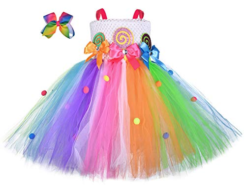 Candy Halloween Costume (Girls Candyland Rainbow Tutu Dress Costume Princess Birthday Halloween Lollipop Pageant Tulle Dress Up Costumes with Headband Size)