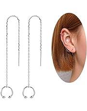 MSECVOI 925 Sterling Silver Cuff Chain Earrings Wrap Tassel Earrings for Women