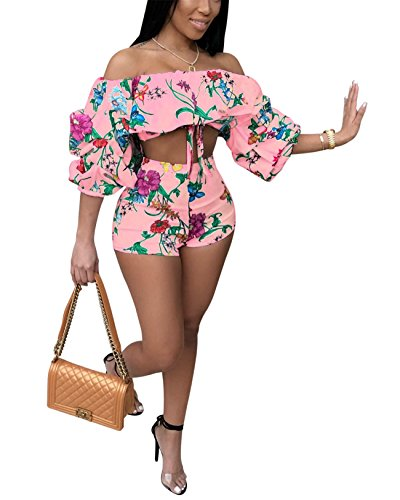 (Womens Summer Two Pieces Outfits Bodycon Ruffled Floucing Crop Top Hot Pants Set Club Shorts Boho Maxi Party Club Dress Pink L)