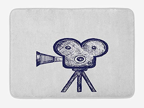 PdGAmats Movie Theater Bath Mat, Hand Drawn Sketch of a Video Projector in Blue Tones Cinema Symbol 23.6 W X 15.7W…