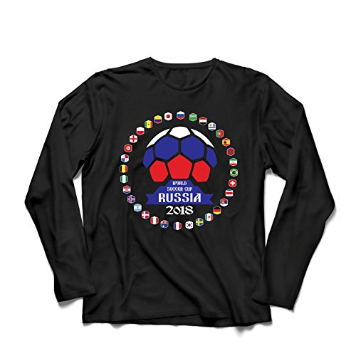 lepni.me Camiseta de Manga Larga para Hombre Las 32 Banderas del Equipo de fútbol Nacional - Copa del Mundo de fútbol de...