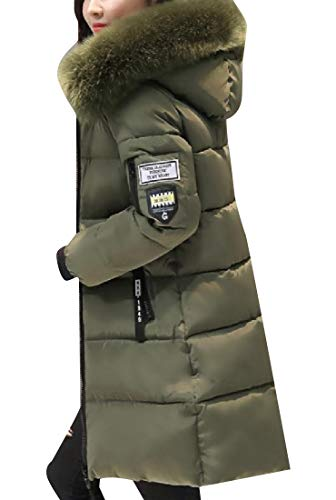 Slim Howme Casual Women Fluffy Jacket with Puffer Green Collar Pockets Army qqBF5OP