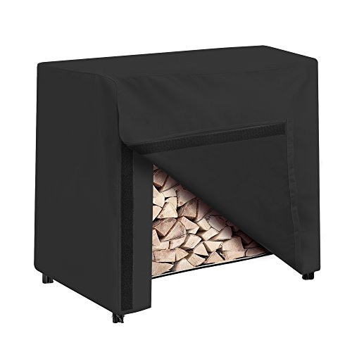 SunPatio Outdoor Firewood Cover for 4-Feet Log Rack, Heavy Duty Log Rack Cover 50 Inch with Waterproof UV Resistant Material, Small Wood Rack Cover, Black ()