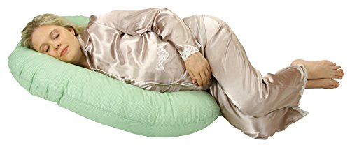 Leachco Snoogle Mini Pregnancy/Maternity Compact Side Sleeper, Sage/White dot