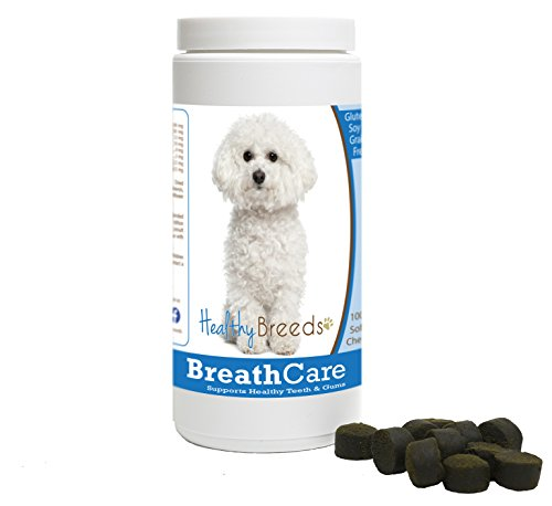 Healthy Breeds Dog Breath Freshener Treat Chews for Bichon Frise - OVER 100 BREEDS - Veterinarian Formulated to Support Healthy Teeth & Gums - Easier than Spray or Additives - 100 Chews