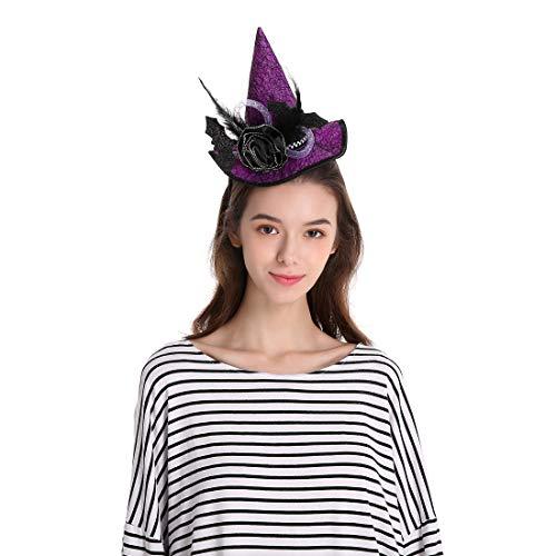 Sdsaena Halloween Witch Headband Hat with bat Accents, Purple and Orange, One Size Fits All, Orange/Purple (Purple)