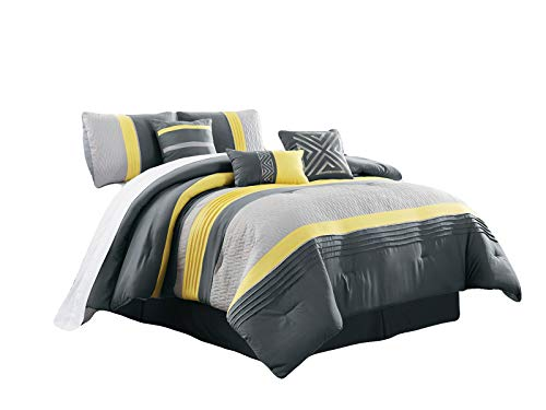 HGS 7-Pc Clio Triangle Meander Greek Key Embroidery Embossed Zigzag Herringbone Pleated Comforter Set Yellow Gray Silver Queen