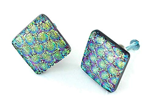 Set of Two Diamond shaped Fused Dichroic Glass Cabinet Door Knobs - Gold Teal and Purple Dichroic Glass - Custom Cabinet Knobs - Handmade Hardware - by 3D Glass Designs