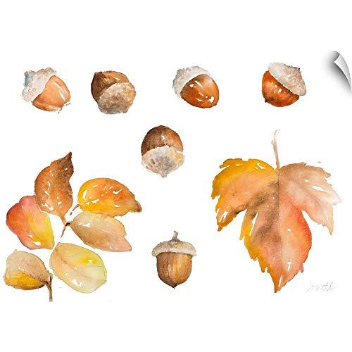 CANVAS ON DEMAND Tawny Autumn Leaves and Acorns Wall Peel Art Print, 48
