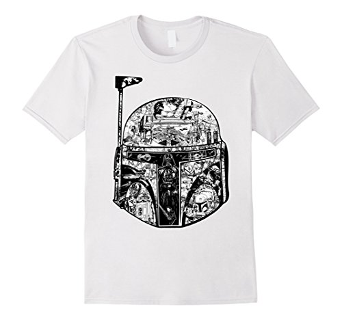 Mens Star Wars Boba Fett Helmet Storyline Graphic T-Shirt 2XL White