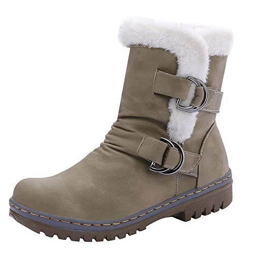 Cenglings Women Knee High Snow Boots, Round Toe Flat Shoes Winter Fuzzy Buckle Lace Up Mid-Calf Booties (Sandals Guess Patent Leather)