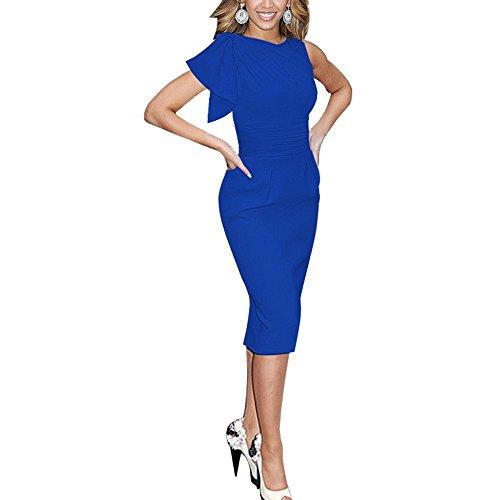 Lylafairy Donna Elegante Tubino Vestito Business Abito Blu