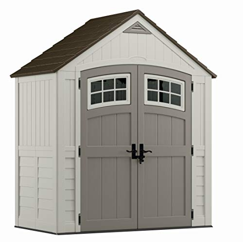 Suncast 6' x 3' Cascade Storage Shed - Natural Wood-like Outdoor Storage for Power Equipment and Yard Tools - All-Weather Resin Material, Transom Windows and Shingle Style Roof
