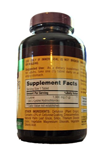 Finest Nutrition L Lysine 1000mg, Tablet 100 ea