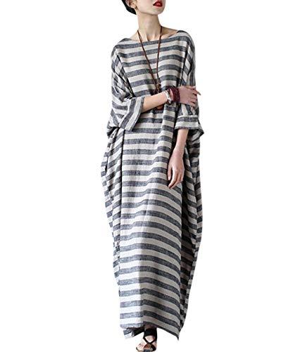 "YESNO JG1 Women 48"" Long Loose Maxi Striped Dress Arab Caftan Casual Plus Size 3/4 Sleeve Boat Neck"