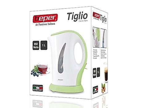 BEPER Hervidor de Agua eléctrico, ABS, plástico, Blanco/Verde, 21 x 20 x 12.5 cm: Amazon.es: Hogar