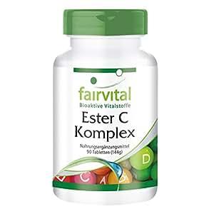 Ester C Complejo - paquete grande para 3 meses - VEGANO - Buffered vitamina C con bioflavonoides - 90 comprimidos - fácil en el estómago