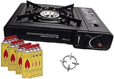 Hornillo de gas camping hervidor + 16 x Cartuchos de Gas + cocina de gas Cruz + Maletín (Color Negro, Rojo, Azul o gris)