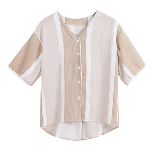 TOPUNDER Button Down Shirt for Women Stripe Fancy V-Neck Top Trendy Short Sleeve Blouse
