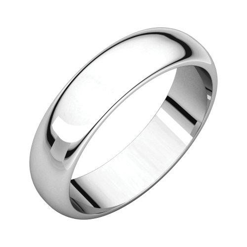 Palladium 5 mm Half Round Wedding Band in Base Metal - Size 10