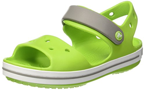 (Crocs Kids Crocband Sandal Shoes, Volt Green/Smoke, US 8 Toddler)