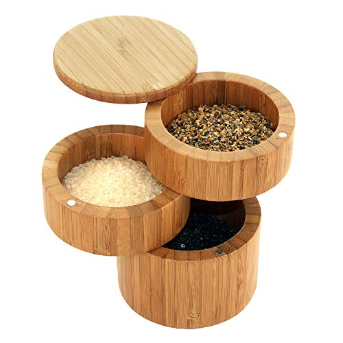 Totally Bamboo Triple Salt Box, Three Tier Bamboo Storage Box with Magnetic Swivel Lids (Rectangular Box Stacking Teak)