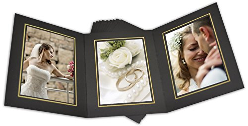 Golden State Art, Cardboard Photo Folder for 3 5x7 Photo (Pack of 50) GS005 Black Color by Golden State Art (Image #2)