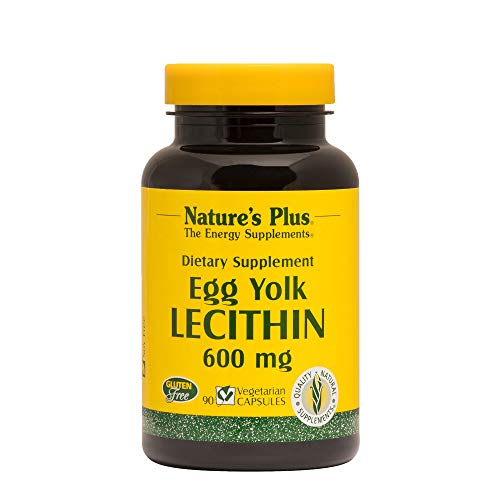Natures Plus Egg Yolk Lecithin – 600 mg, 90 Vegetarian Capsules – Heart, Brain and Nervous System Support Supplement, Weight Loss Aid – Gluten Free – 90 Servings