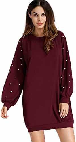 830e47a0856f DIDK Women s Round Neck Pearl Beading Raglan Sleeve Sweatshirt Dress