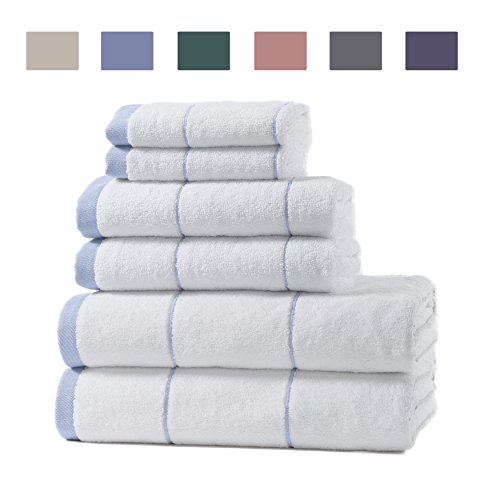 100% Turkish Cotton Spa Bath Towel Set. Includes Bath Towels, Hand Towels and Washcloths. Roka by Home Fashion Designs. (Sky - Design Roka