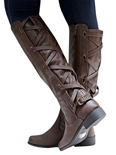Lace 1 Leather Syktkmx Boots Strappy Winter Knee Riding Motorcycle Womens Low dark Heel Brown Up High 5qw1gA