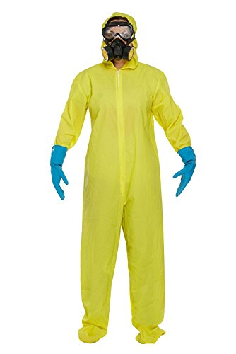 Mens Toxic Forensic Hazard Protective Suit Womens Stag Party Fancy Dress Outfit -