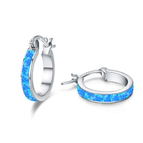Mothers Day Sterling Silver Opal Hoop Earrings Hypoallergenic Girls Earrings - Rose Gold Pave Circle/Round Cut Small Pierced Huggie Earrings Stud - Jewelry Gift for Women Teen (Silver-Blue Opal) ()