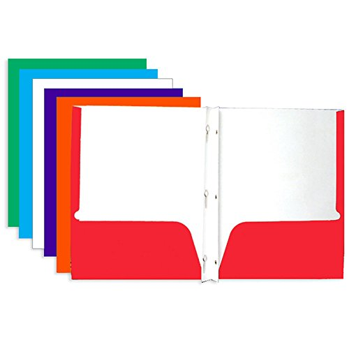 4 Pk. BAZIC Laminated Bright Glossy Color 2-Pockets Portfolios with 3-Prong Fastener
