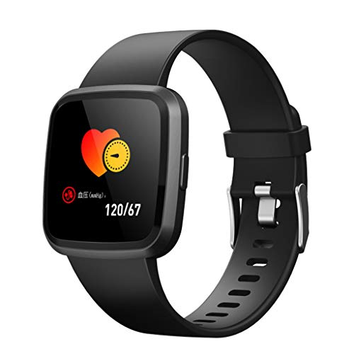 V12C Fitness Tracker, Activity Tracker Watch with Heart Rate Monitor, Smart Fitness Band with Step Counter, Pedometer Watch for Kids Women and Men (Black) by Besde Other (Image #1)