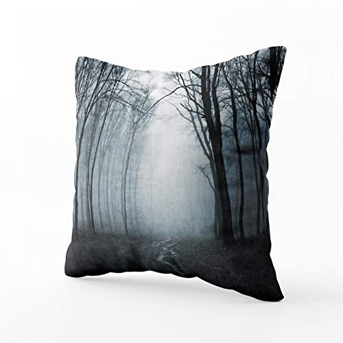 HerysTa Farmhouse Throw Pillow Covers, Home Decorative Pillow Covers 18X18inch Invisible Zipper Cushion Cases Road Through Misty Fest Square Sofa Bed Décor