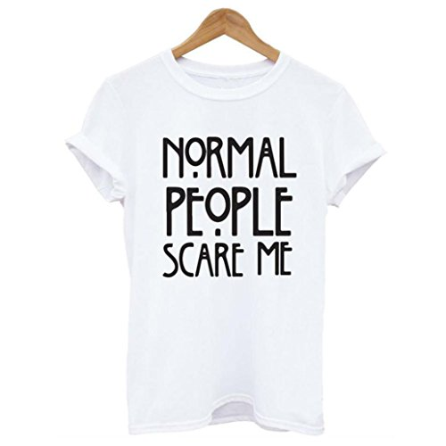 Gillberry Normal people scare me women Short sleeve casual cotton T shirt Tops (M, White)